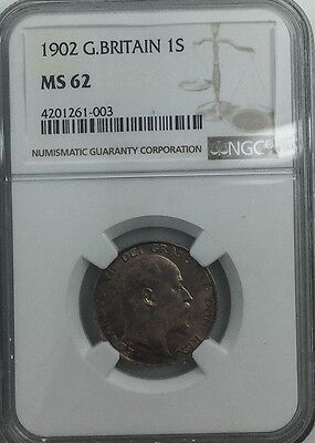 1902 EDWARD VII   SHILLING GREAT BRITAIN  NGC MS62 PRETTY TONED COIN