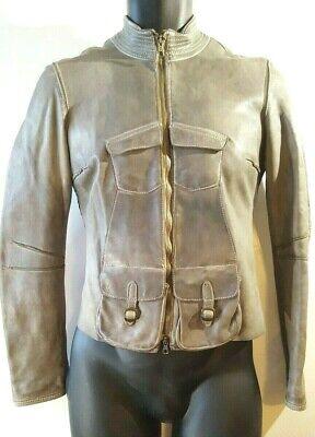 Blur Panama Tan Brown Luxury Leather Jacket Size Italian 40 - US 0 Retail $1089