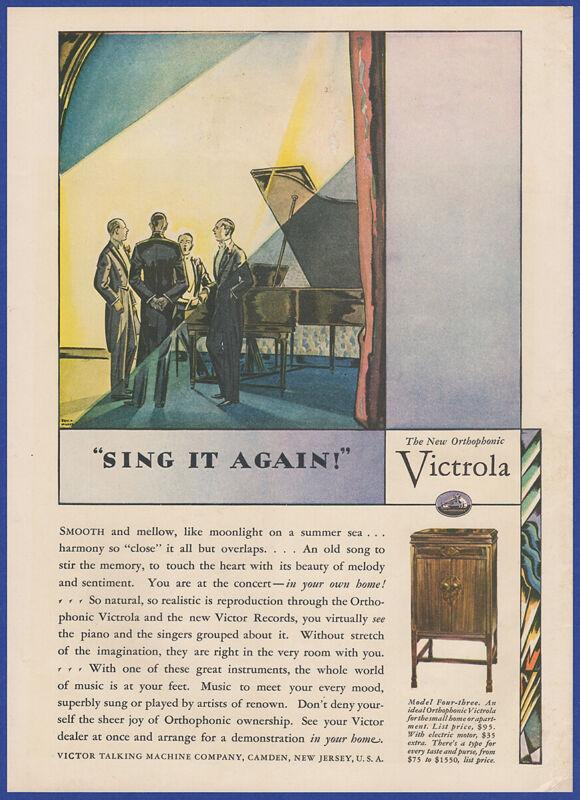 1928 VICTROLA Model Four-Three Orthophonic Phonograph Edward Wilson Art Print Ad