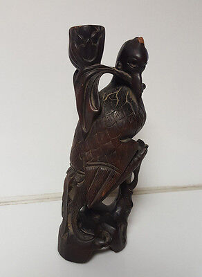 Antique Chinese Asian Hand Carved Wood Bird indonesian crane