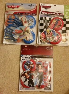 Hallmark Party Favor Pack Disney Cars Planes or Superman 48 Pieces NEW (Superman Party Pack)
