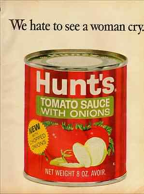 1968 Vintage Magazine Print Ad for Hunt's Tomato Sauce with Onions  (030712)