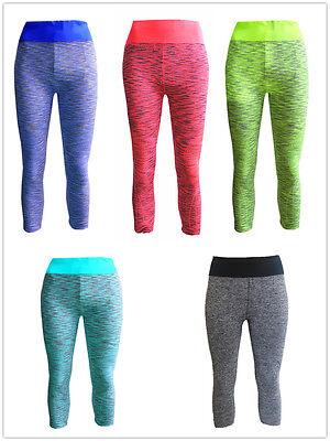 Damen Sport Wear Capri Hose Leggings Fitness Yoga Gymnastik  5 Farben #2162