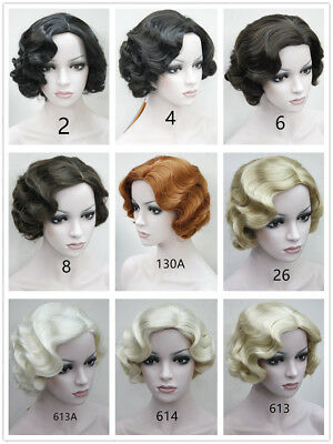 20s Womens Retro Short Finger Wave Curly Wavy Pinup Wigs Halloween Cosplay - 20s Wig