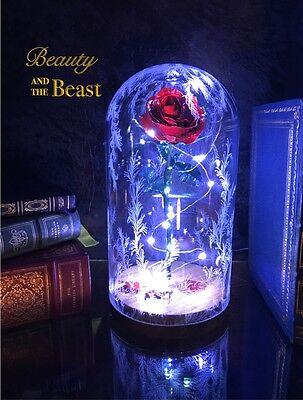 Beauty and the Beast Enchanted Rose Handmade out of Metal with LED Lights