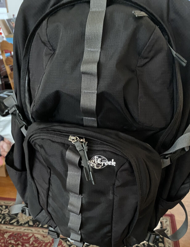 Eagle Creek Hiking Backpack Outdoor Travel Lumbar Support, Black And Gray