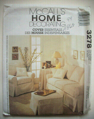 Sofa Couch Chair ottoman slipcover craft pattern 3278 uncut - Chair Ottoman Couch