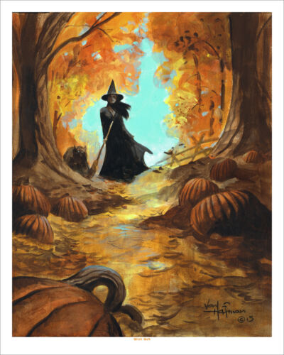 THE WITCH WALK! Halloween Horror Mike Hoffman Art Print SIGNED!