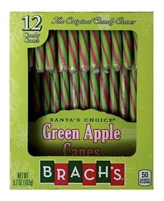1X Brach's Green & Pink Green Apple Flavored Candy Canes 5.7 oz X-09/2021
