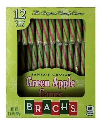 1X Brach's Green & Pink Green Apple Flavored Candy Canes 5.7 oz X-09/2021 - Flavored Candy Canes