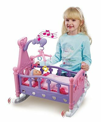 Vinsani Childrens Pretend Play Rocking Musical Cradle Bed Cot With Doll