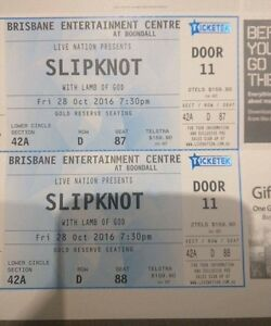x2 Slipknot seated tickets Brisbane 28th (excellent view) Strathpine Pine Rivers Area Preview