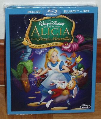 ALICIA EN EL PAIS DE LAS MARAVILLAS CLASICO DISNEYBLU RAY+DVD NUEVO SLIPCOVER...