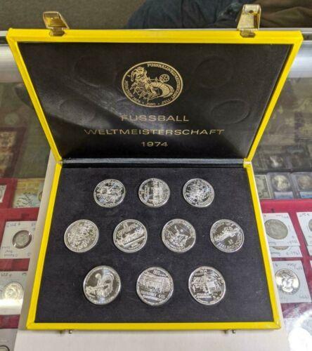 1974 FUSSBALL WELTMEISTERSCHAFT 10 ASSORTED SILVER ROUNDS SOCCER WORLD CUP