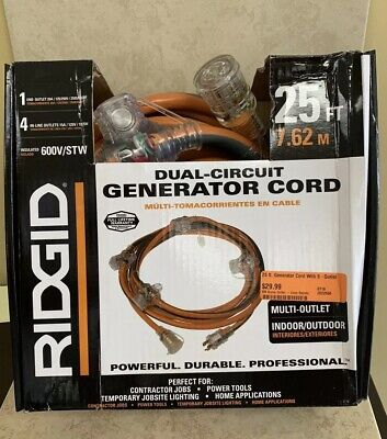 Dual-circuit Ridgid Generator Cord 25ft