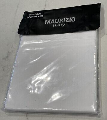 """Maurizio Italy 2 Standard Pillowcases 20 x 32"""" White 100% Cotton NIP"""