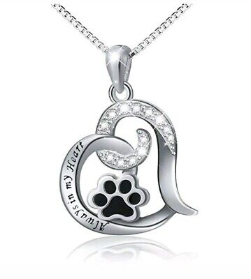 Best Dog Paw Necklace For Women Love Always In My Heart Engraved Jewelr SILVER (Etched In My Heart)