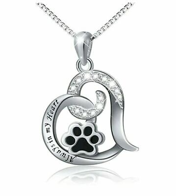 Best Dog Paw Necklace Women Memorial Love Always In My Heart Engraved SILVER (Etched In My Heart)