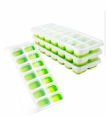 OMorc Ice Cube Trays 4 Pack, Easy-Release Silicone Flexible 14 With Lid