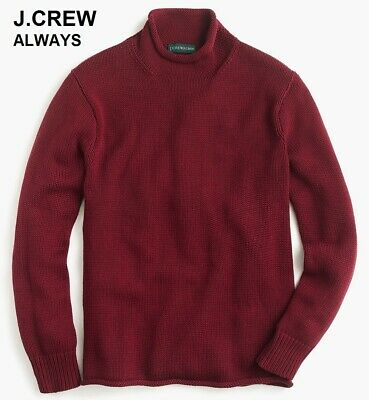 J.CREW ALWAYS rollneck sweater red burgundy knit cotton chunky unisex roll neck Cotton Roll Neck Sweater