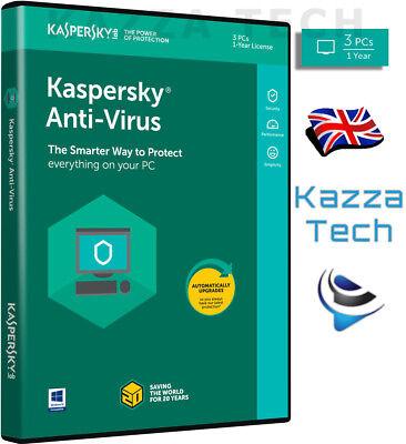 Kaspersky ANTI-VIRUS 2019 - 3 PC User 1 Year GENUINE NEW UK Retail Sealed! KAV segunda mano  Embacar hacia Spain
