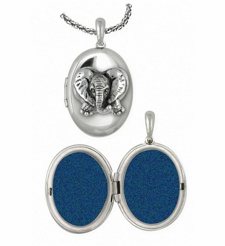 Elephant Jewelry Sterling Silver Elephant Photo Locket Handmade Wildlife Jewelry