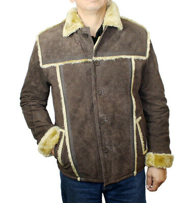 Men Genuine Suede Leather Bonded Fur Warm Jacket Style HB (Genuine Suede Leather Mens Jacket)