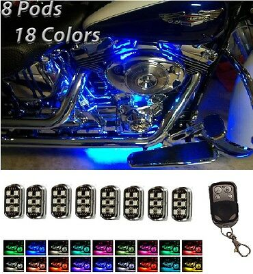 Motorcycle H.D LED Neon Under Glow 8 Pod Lighting Kit For Harley Davidson Street Glow Led Pod