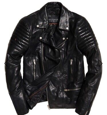 SUPERDRY PREMIUM CLASSIC LEATHER JACKET, BIKER, Black, Size L, RRP 599 $, NEW !!