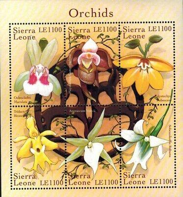 MODERN GEMS - Sierra Leone - Orchids - Sheet of 6 - MNH
