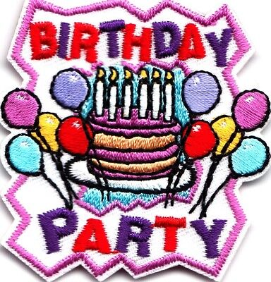 Cub Boy Girl Scout Fun Badge Patch ~ Birthday Party Balloons Cake (Cubs Birthday Cake)