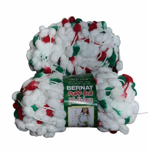 Bernat Puff Ball Yarn Holiday Hoopla Chenille Knit Crochet Scarf And Extra - $11.69
