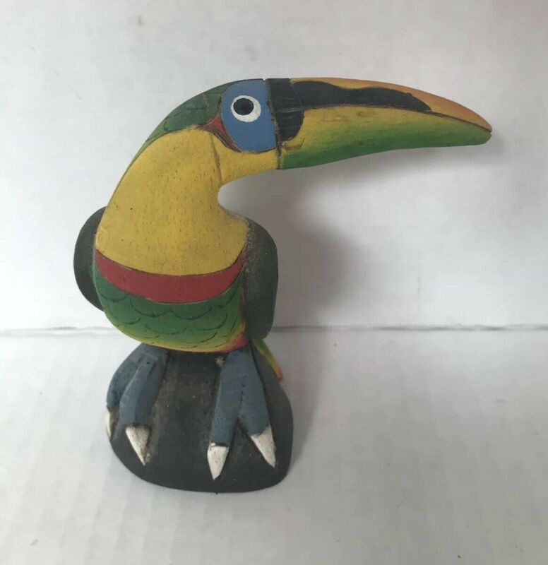 "Wooden Toucan Figurine hand painted rustic Made in Costa Rica small 3.75"" tall"