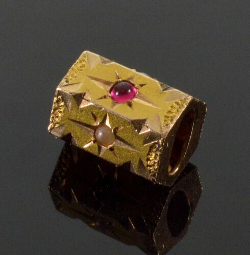 ANTIQUE VICTORIAN 10K GOLD RUBY PEARL SLIDE CHARM FOR BRACELET 002666