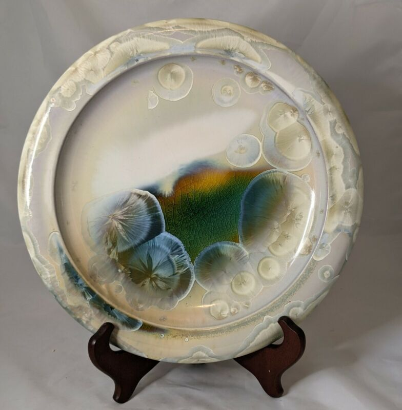 """Bill Campbell Pottery Plate Crystalline 11.5"""" Beautiful Unique Design"""