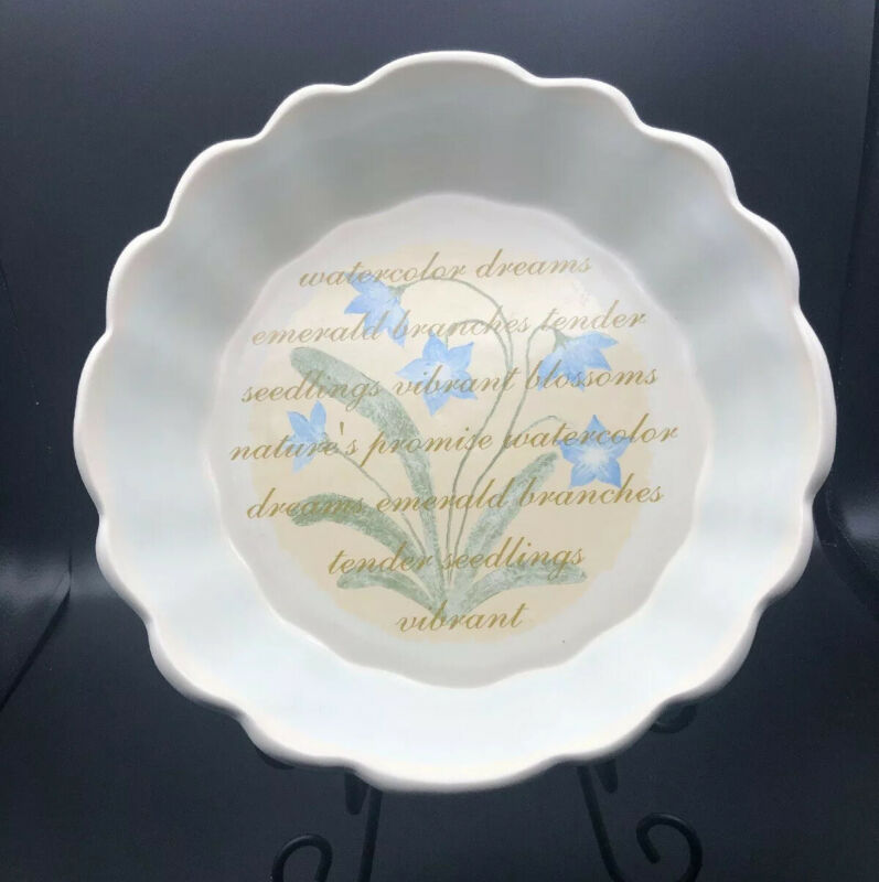 Quiche Dish Pie Plate Cream With Light Blue Vine Detail Poem And Flowers 10x2.5""