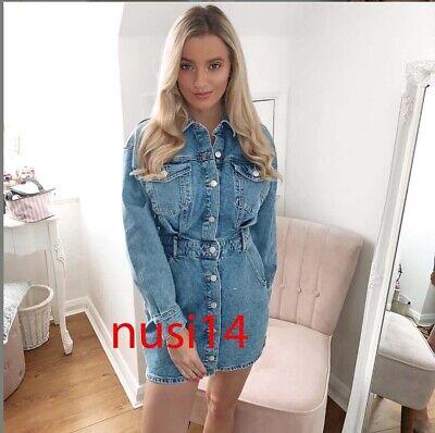 ZARA NEW WOMAN SS/20 SHORT MINI DENIM SHIRT DRESS POCKETS BLUE XS-XXL 8197/081