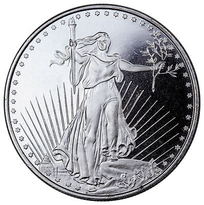 Highland Mint 1 Troy oz. .999 Fine Silver Saint-Gaudens Design Round SKU45168
