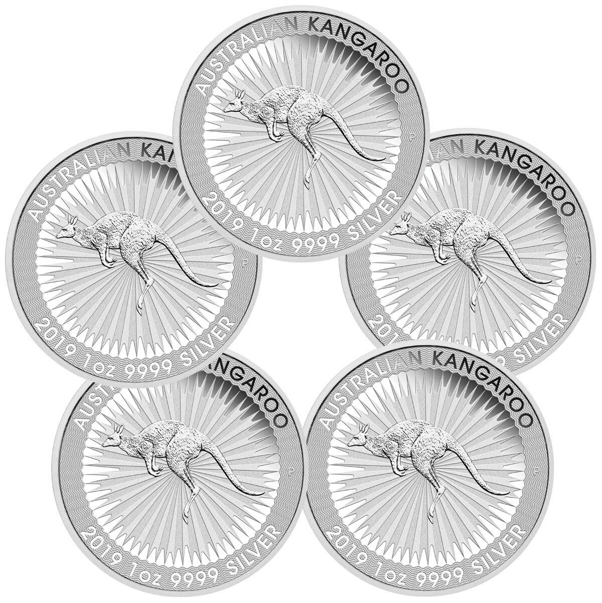Купить Lot of 5 - 2019-P Australia Silver Kangaroo $1 Coins GEM BU SKU55522