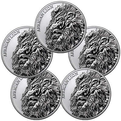 Lot of 5 -2018 Republic of Chad African Lion 1 oz Silver Fr5,000 GEM BU SKU51642