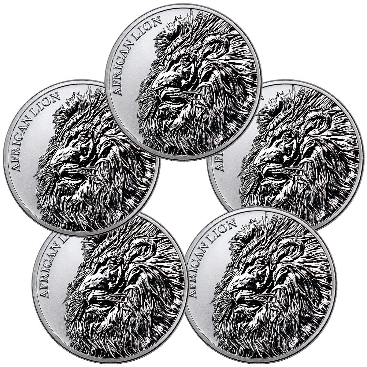 LOT OF 5 2018 REPUBLIC OF CHAD AFRICAN LION 1 OZ SILVER GEM BU COINS SKU51642