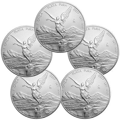 Lot of 5 - 2017-Mo Mexico 1 oz .999 Fine Silver Libertad Coin SKU47082