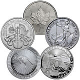 Grab Bag of 5 Different Ungraded 1 oz. Silver World Coins SKU30674