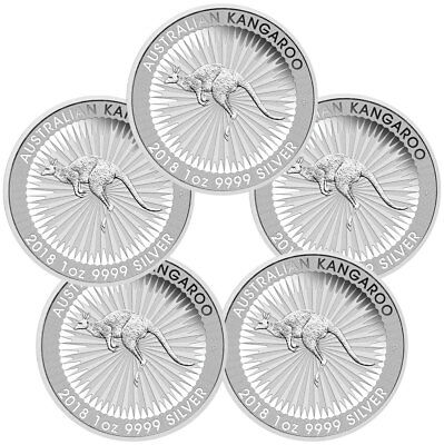 Lot of 5 - 2018-P Australia 1 oz Silver Kangaroo - $1 Coins GEM BU SKU49771