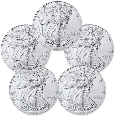 FIVE (5) BU 2017 1 oz. American Silver Eagles, Lot of 5