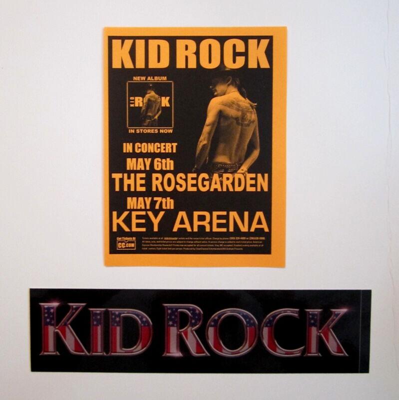 Kid Rock 2004 Concert Handbill and 2001 Promo Sticker Cocky