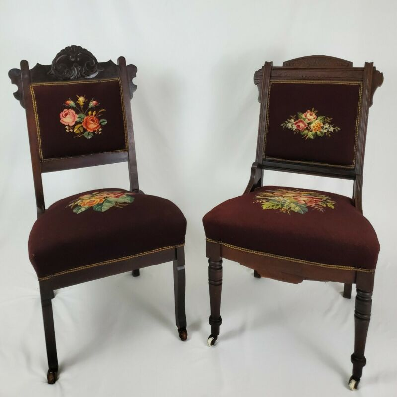 Antique Victorian Carved Walnut And Needlepoint Dining Parlor Chairs Pair 1800
