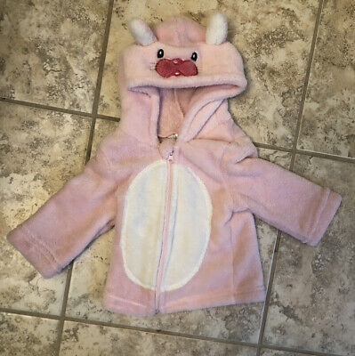 6-9 Months 74cm Baby Girl Pink Bunny Rabbit Zipper Jacket Coat With Hood Easter