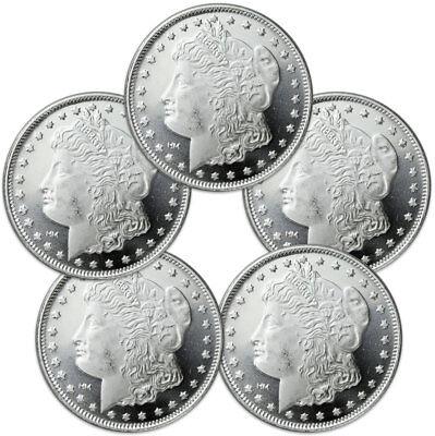 Lot of 5 - Morgan Dollar Design 1 Troy Oz .999 Silver Rounds Delayed SKU31047