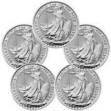 2017 Great Britain 2 Pound 1 oz. Silver Britannia - Lot of 5 SKU43885